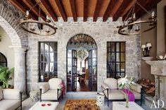 Adjoining the dining room of a San Miguel de Allende, Mexico, home is the sala abierta, a favorite spot for entertaining | archdigest.com