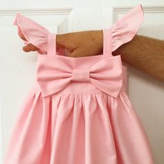 Baby pink puffy sleeves Big bow Dress, simple Girls bow dress, Baby coming home outfit outfit, Weddi Birthday Girl Dress, Birthday Dresses, Women Birthday, 21st Birthday, Baby Girl Dresses, Flower Girl Dresses, Flower Girls, Dress Girl, Newborn Outfit