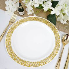 "10 Pack - 10"" White Round Disposable Plastic Dinner Plates With Gold Lace Design Rim White Plastic Plates, Disposable Plastic Plates, Plastic Ware, Gold Candle Holders, Plastic Dinnerware, Fun Summer Activities, Gold Wedding Decorations, Burlap Table Runners, Gold Lace"