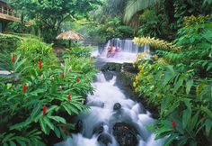 Costa Rica's La Fortuna district is dominated by the highly active Arenal Volcano, which kindly heats up the underground water for its human neighbors. The resulting thermal springs are plentiful, and beautiful too — tumbling down waterfalls into inviting pools in a lush, green jungle setting