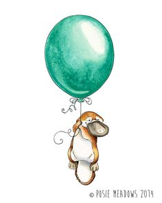 Platypus Goes Adventuring - Platypus Watercolor Giclee Print, Original Artwork, Children's illustration, Nursery Wall Art