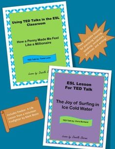 This is a bundle of three lessons created for upper intermediate and advanced ESL students. These lessons practice listening, speaking, reading, writing, vocabulary, and grammar skills. Bundle contains the following lessons:Using TED Talks with ESL: A Life Lesson from a Volunteer FirefighterUsing TED Talks with ESL: How a Penny Made Me Feel Like a MillionaireESL Lesson for TED Talk: The Joy of Surfing in Ice Cold Water