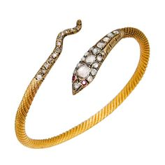 Gold & Rose Diamond Snake Bracelet