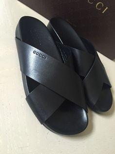 10d56b1d453 Gucci Genuine Leather Men s Sandal Shoes Black 6.5G ( 7 US ) NIB Italy