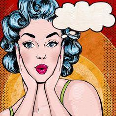 Pop Art Illustrazione Della Donna Con Il Discorso Bubble.Pop Art ...