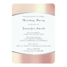 Pearly Blush Champaign Peach Pink  Birthday Party 13 Cm X 18 Cm Invitation Card