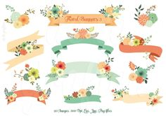 FLORAL BANNERS 3 | This digital Clip Art is ideal for wedding invitations, blogs, transfers, web design, graphic design, handmade craft items, printed paper items, cupcake toppers, scrapbooking, cards and so much more!