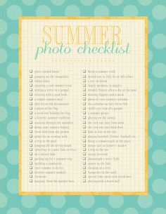 summer photo check list.....a must do!