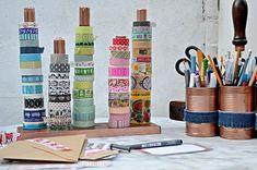 diy handy washi tape twine holder, craft rooms, organizing, storage ideas