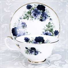 Midnight Rose Bone China Cup & Saucer *~<3*Jo*<3~*
