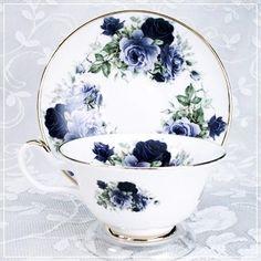 Midnight Rose Bone China   Cup & Saucer *~<3*Jo*<3~*
