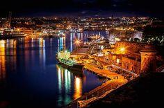 MAGICAL !!!  The Grand Harbour at night. Valletta Malta