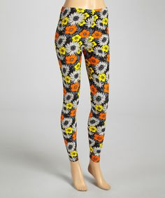 This Orange & Yellow Daisy Leggings is perfect! #zulilyfinds