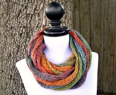 Knit Cowl - ICord Infinity Scarf Rope Cowl Scarf in Starling Rainbow - READY TO SHIP - Chunky Knit