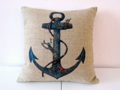 """Decorbox Cotton Linen Square Throw Pillow Case Decorative Cushion Cover Pillowcase for Sofa Blue Rusty Anchor with Coral 18 """"X18 """" decorbox http://smile.amazon.com/dp/B00E4JM0O2/ref=cm_sw_r_pi_dp_Q5B5tb06BV27F"""