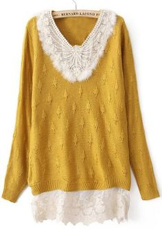 Yellow Long Sleeve Contrast Lace Pullovers Sweater
