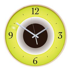 Bright Coffee Time Wooden Wall Clock $54.50 #clock #wallclock #coffee #decor #cafepress