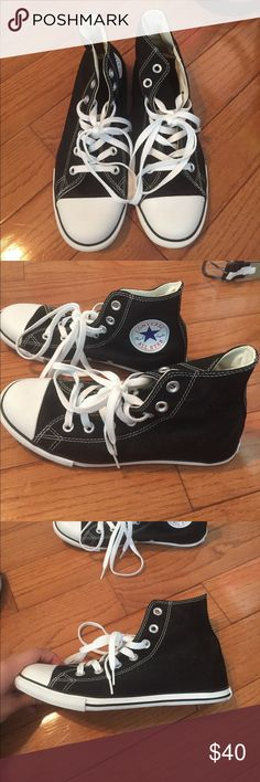 NWOT black high top converse!! Never been worn, perfect condition! Thinner white band at the bottom than regular high tops. Converse Shoes Sneakers