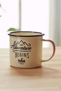 Stupid Urban Outfitters! I liked Enamelware before it was cool -- Adventure Begins Enamel Mug - Urban Outfitters