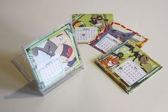 """This calendar project will make a """"clear case"""" for recycling projects this year! All you need is a CD jewel case, some scrap paper and a . Diy Calendar, Desk Calendars, Desktop Calendar, Agenda Planer, Crafts To Make, Crafts For Kids, Cd Diy, Cd Cases, Fun Projects"""