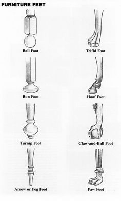 Diagrams of furniture feet. Diagrams of furniture feet. Furniture Legs, Furniture Styles, Furniture Making, Furniture Makeover, Furniture Design, Antique Chairs, Antique Furniture, Painted Furniture, Rustic Furniture