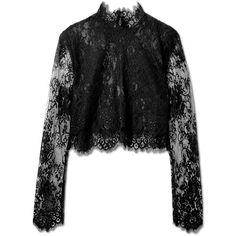 Lace Cropped Turtleneck ❤ liked on Polyvore featuring tops, lace top, crop top, cropped turtleneck, turtleneck tops and long sleeve lace top