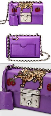 Padlock Embroidered Shoulder Bag with Tiger Applique, Purple