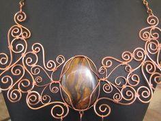 Tiger Eye and Copper Necklace by MallardRocksandGems on Etsy, $75.00