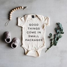 'Good Things Come In Small Packages' Baby Onesie | TheOystersPearl on Etsy #pregnancyannouncementonesie,