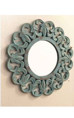 Carved Wood Round Mirror Aqua Finish is a trendy accent to decorate your walls. SHop more accessories and Mirrors at Desert Designs. Desert Design, Custom Made Furniture, Wood Mirror, Wood Rounds, Round Mirrors, Carved Wood, Aqua, Carving, It Is Finished