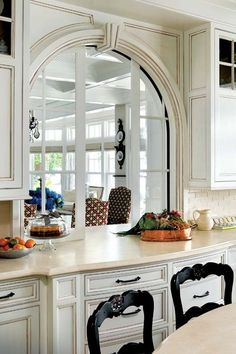 Kitchen Idea Arched Pass Through With Pocket Doors