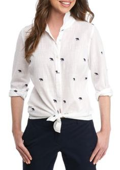 Crown  Ivy  WhiteNavy Petite Embroidered Woven Shirt
