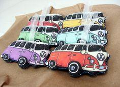 Volkswagen Bus Christmas Ornament Handmade fabric retro tree decoration VW. $12.00, via Etsy.