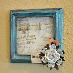 Altered Frame  Distressed Frame  Turquoise Frame by SoScrappyHappy, $15.00