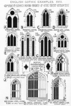 Classification of Gothic window architecture. Tall and narrow windows with an arched top are called lancets because of their resemblance to a lance. Classification of Gothic window architecture. Tall and narrow windows with an arched top are called Architecture Windows, Architecture Details, Gothic Architecture Drawing, Types Of Architecture, Building Architecture, Amazing Architecture, Roman Architecture, Ancient Architecture, Gothic Windows