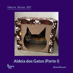 """Começamos hoje na rubrica Ideias Giras o projecto """"Aldeia dos Gatos"""", um parque para gatos construídos a partir de caixas de papelão e outros materiais recicláveis. Acompanhe o crescimento da aldeia nas próximas edições… peça a peça! ;)  Saiba mais em https://4everypet.wordpress.com/2017/07/11/40a/  #4EveryPet #IdeiasGiras #AldeiaGatosI"""