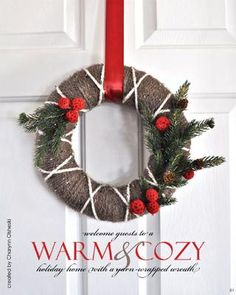christmas wreath with twine, string