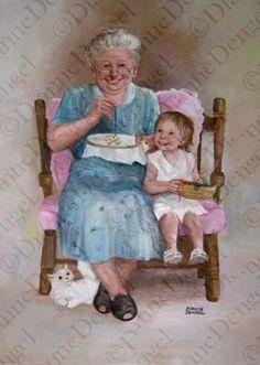 Grandma & Child ~ Dianne Dengel- miss my gran Grands Parents, Grandchildren, Granddaughters, Illustrations, Illustration Art, Images Gif, Images Vintage, Grandma And Grandpa, Norman Rockwell