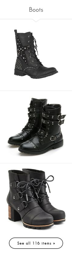 """""""Boots"""" by a-mashup-of-band-names ❤ liked on Polyvore featuring shoes, boots, black, black army boots, combat boots, army boots, black studded boots, lightweight combat boots, ankle booties and lace-up ankle boots"""