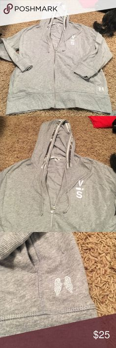 Victoria's Secret zip up hoodie Victoria's Secret zip up hoodie with sparkle trim hood. Size M Victoria's Secret Tops Sweatshirts & Hoodies