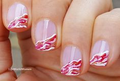 #Red & #white #marble side #frenchmanicure French Manicure Nails, French Manicure Designs, Nail Designs, White French Nails, Easy Nail Art, Nail Tutorials, Simple Nails, Easy Diy, White Marble
