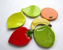 6 handmade ceramic fruit mosaic tiles orange, apple, banana, lemon, strawberry, pear