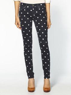 Polka dot jeans... I'd rock them!