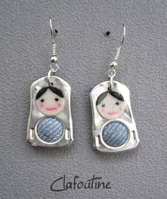 pop tab Matryoshka doll earrings~ what a fun and creative way to use these! Soda Tab Crafts, Can Tab Crafts, Aluminum Can Crafts, Bottle Cap Crafts, Aluminum Cans, Recycled Jewelry, Handmade Jewelry, Kumihimo Bracelet, Pop Top Crafts