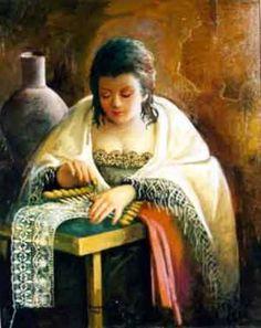 Bobbin Lace maker - Dentellière de Rogelio Garcia Vàzquez. (espagnol 1909 - )