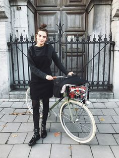 POLIENNE   wearing a MANGO dungaree dress, ACNE STUDIOS knit, RIVER ISLAND boots, PINKO bag / in Antwerp, Belgium