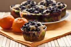 Low Sugar Whole Grain Blueberry Orange Muffins | Great snack that feels like a real indulgence before a workout!
