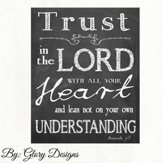 Scripture art Chalkboard Trust in the LORD with by glorydesigns, $6.00