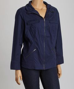 This Navy Flap-Pocket Jacket - Plus by Live A Little is perfect! #zulilyfinds