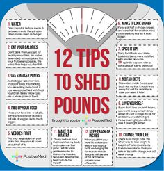 12 Tips To Help Shed Pounds- For people who struggle to lose weight, it can be a long, drawn-out process. I have thrown together a few tips that I have learned over the years to help you through the process: